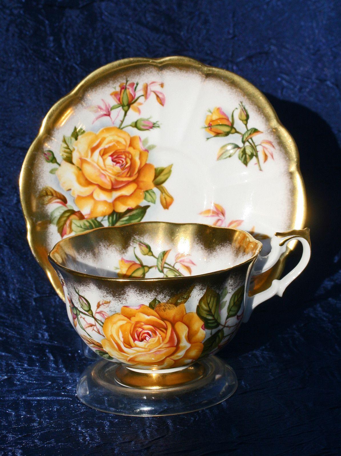 royal albert yellow rose gold crest series tea cup saucer pinterest porzellan kaffee. Black Bedroom Furniture Sets. Home Design Ideas