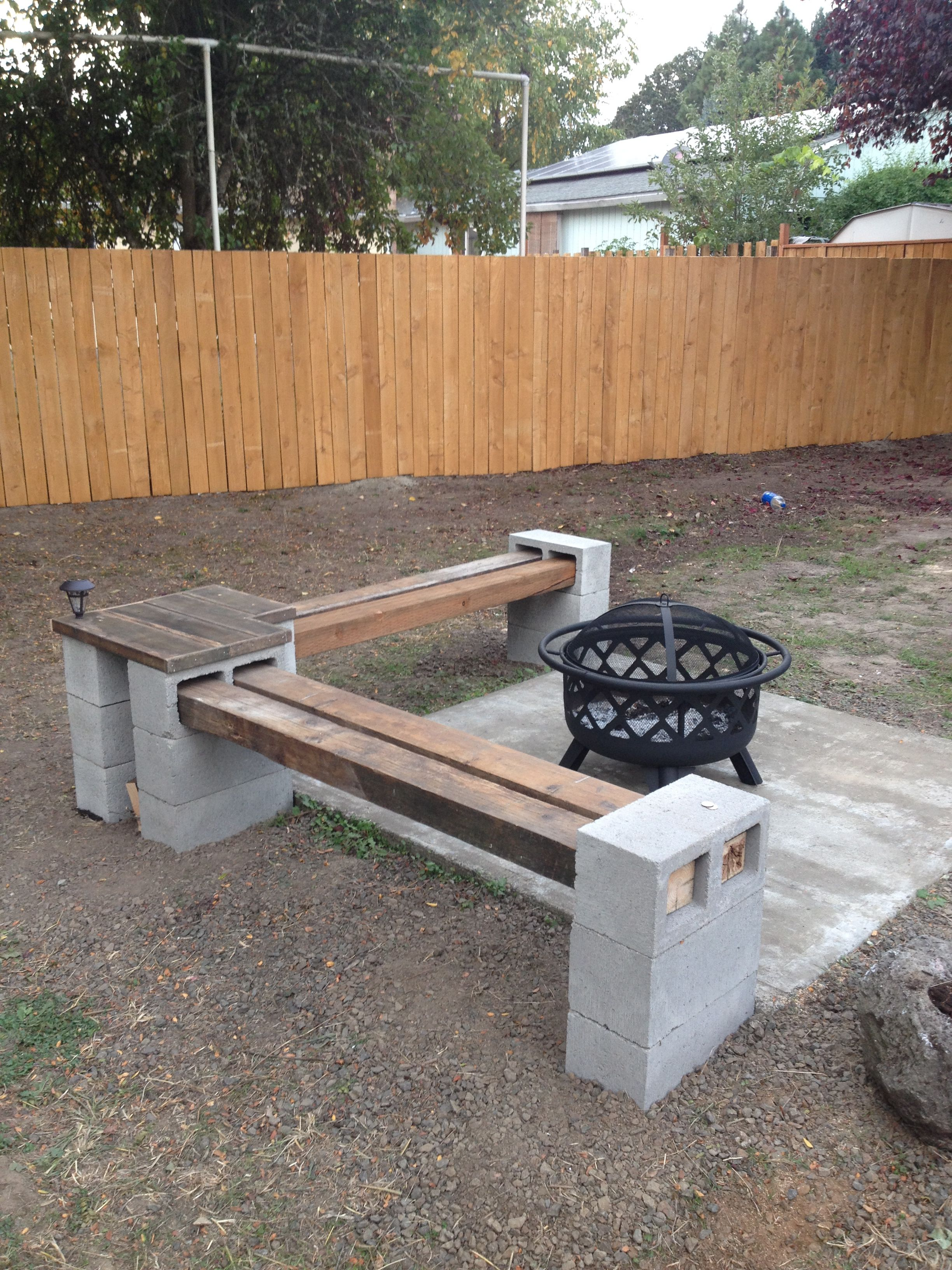 Build my very own fire pit bench with table. Fire pit