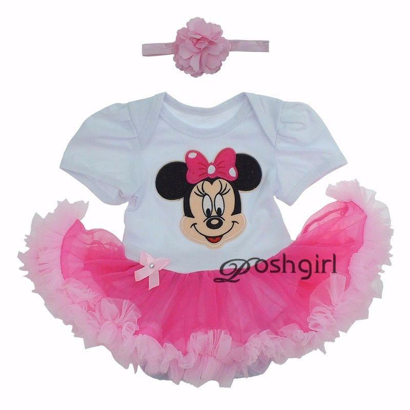 3bb79df66 Cartoon Minnie BEBE Easter Costumes Rompers Tutu Dress One Piece and Headband  Baby Girls Clothing Newborn