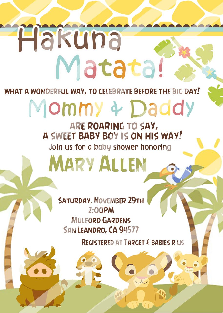 Partyexpressinvitations Simba Baby Shower Invitations Nala Lion King 8 99 Http