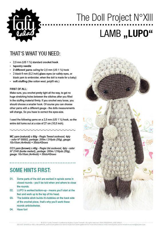 LUPO the lamb / sheep • lalylala crochet pattern / amigurumi ...