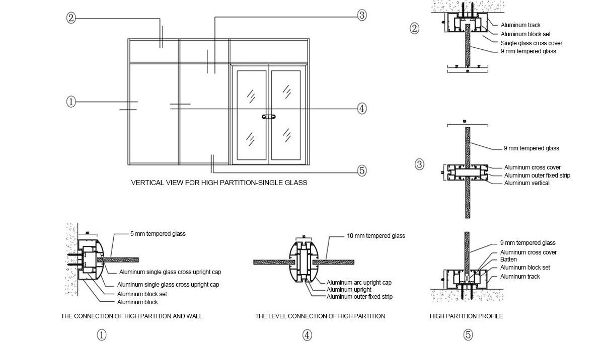 Single Glass Airport Single Glass Partition Suspended Airport
