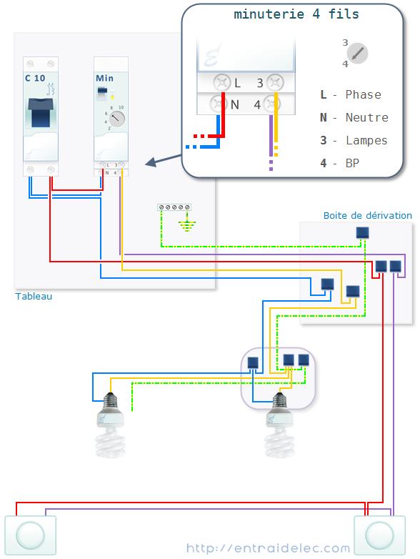 branchement minuterie 4 fils | technique de construction
