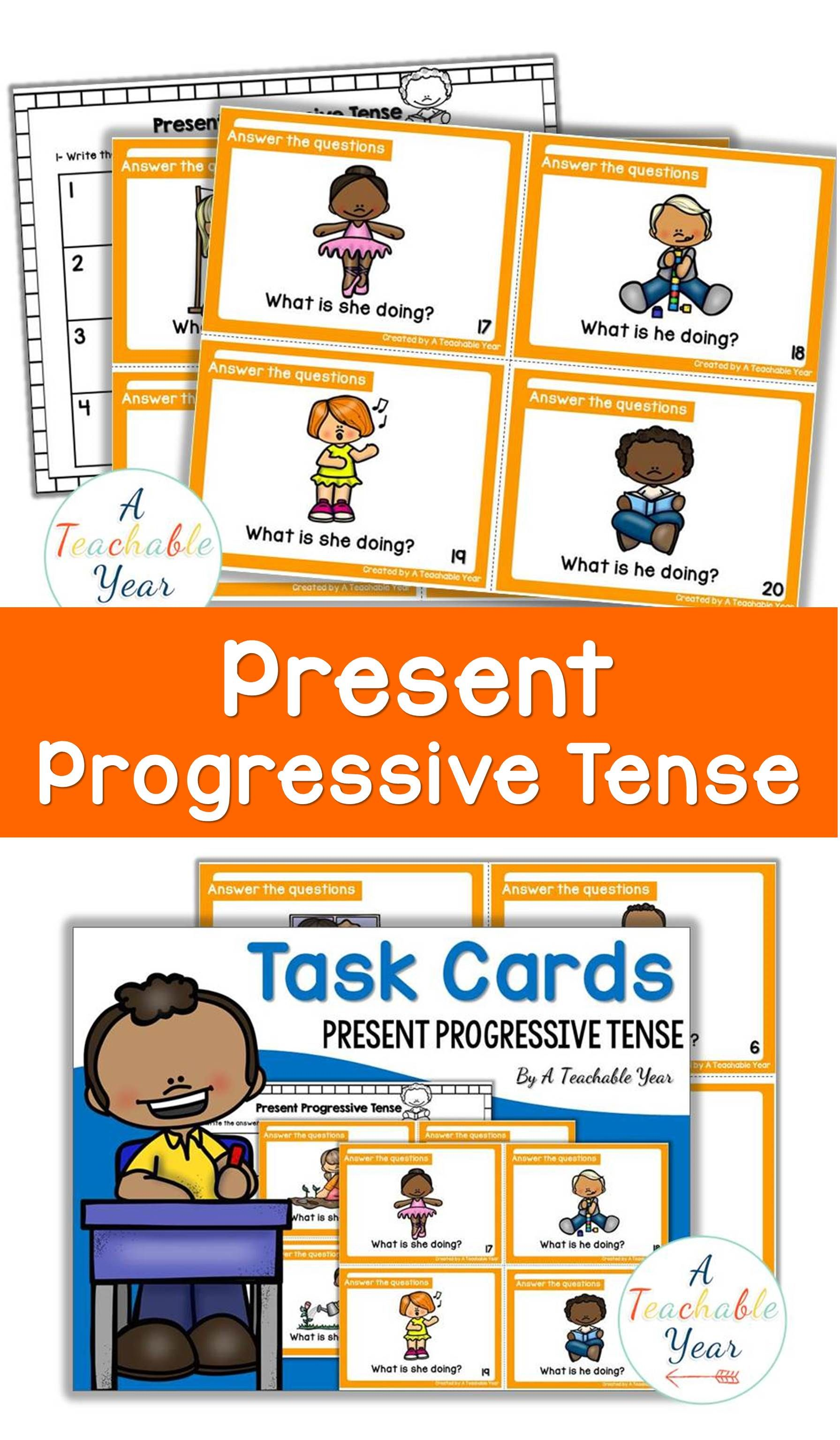 Task Cards Present Progressive Tense En Con Imagenes