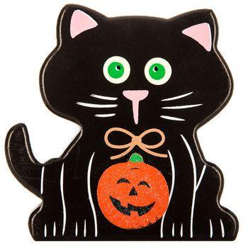 Black Cat Wood Decor Halloween, Strange things seem! Pinterest - hobby lobby halloween decor