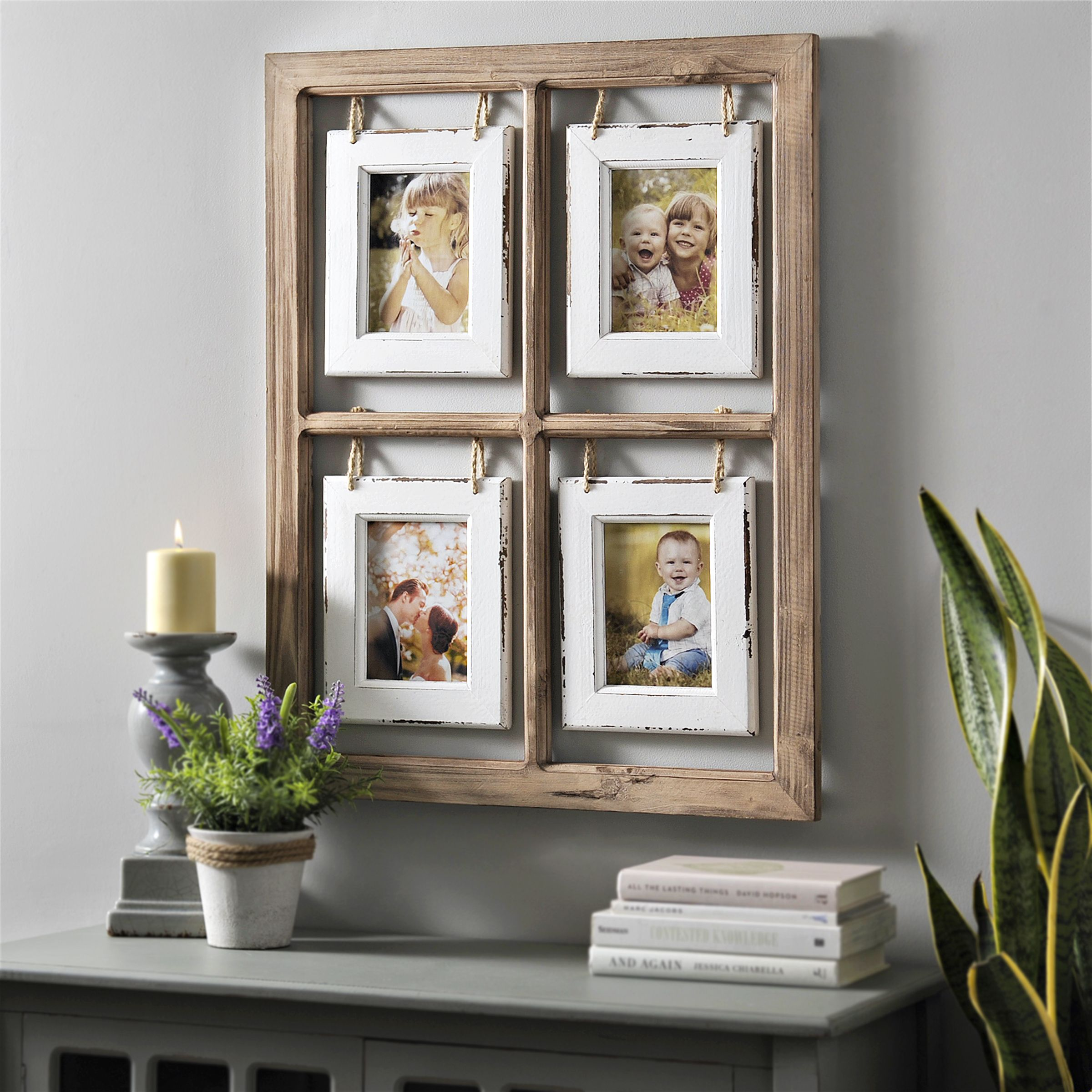 Add A Touch Of Rustic To Your Favorite Moments Our Natural Hanging Window Pane Collage Frame Has The Perfect Whi Window Frame Decor Frame Decor Collage Frames