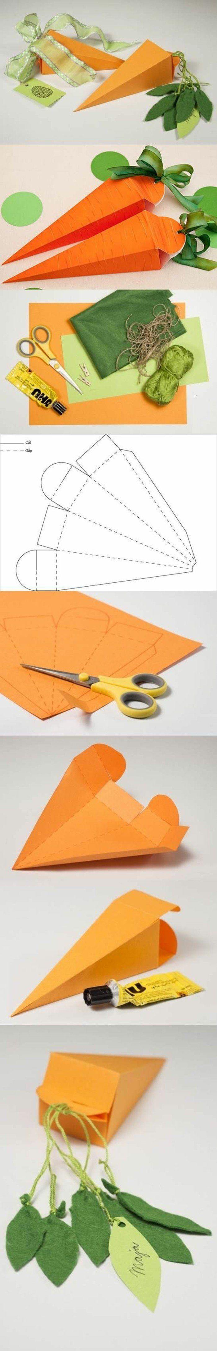patron boite en papier pour fabriquer une boite origami, technique de pliage, boites en forme d une carotte, boite à cadeaux pour Pâques