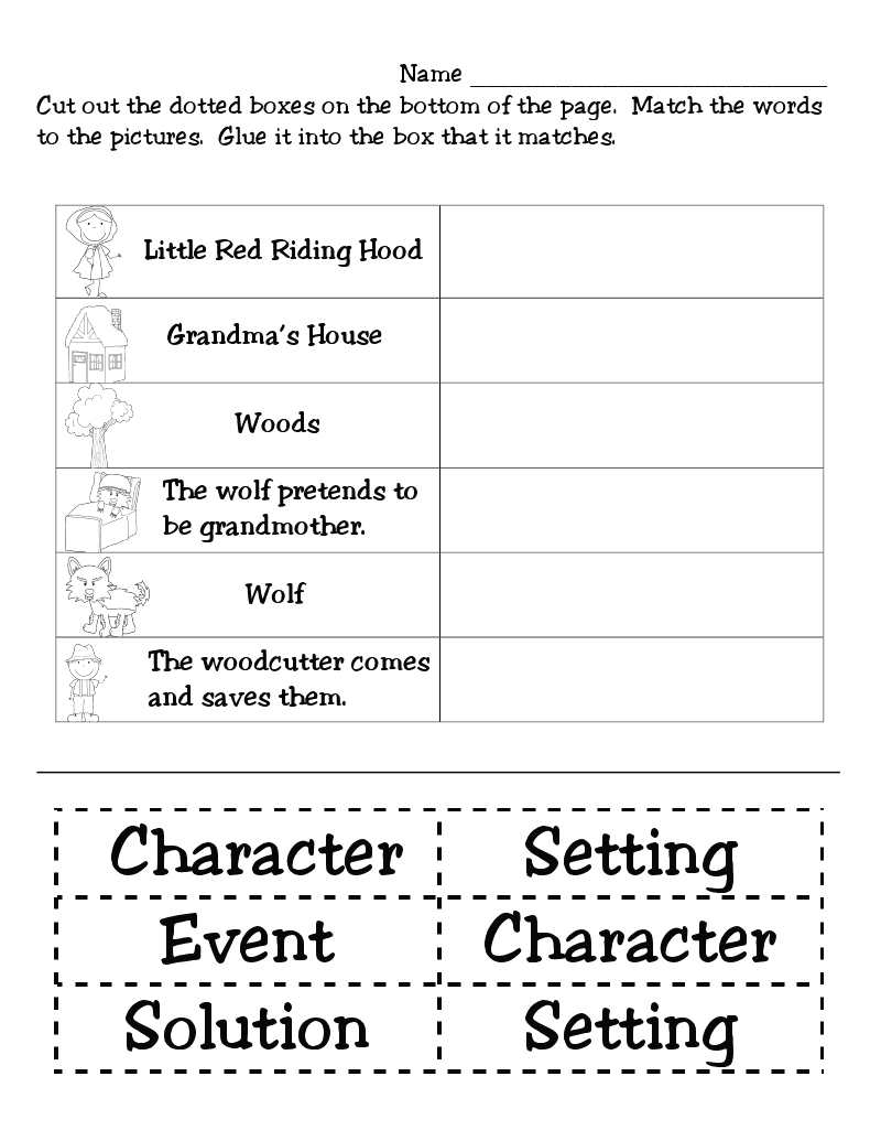 Worksheets Story Elements Worksheets first grade funtastic little red riding hood monthly ideas story elements activitiesstory worksheetfirst