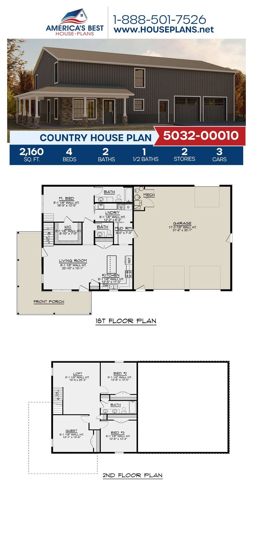 Country House Plan 5032 pole barn homes plans 2 story