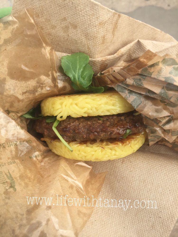 ramen burger from smorgasburg in williamsburg bk over 100 food vendors definitely want to check it out again