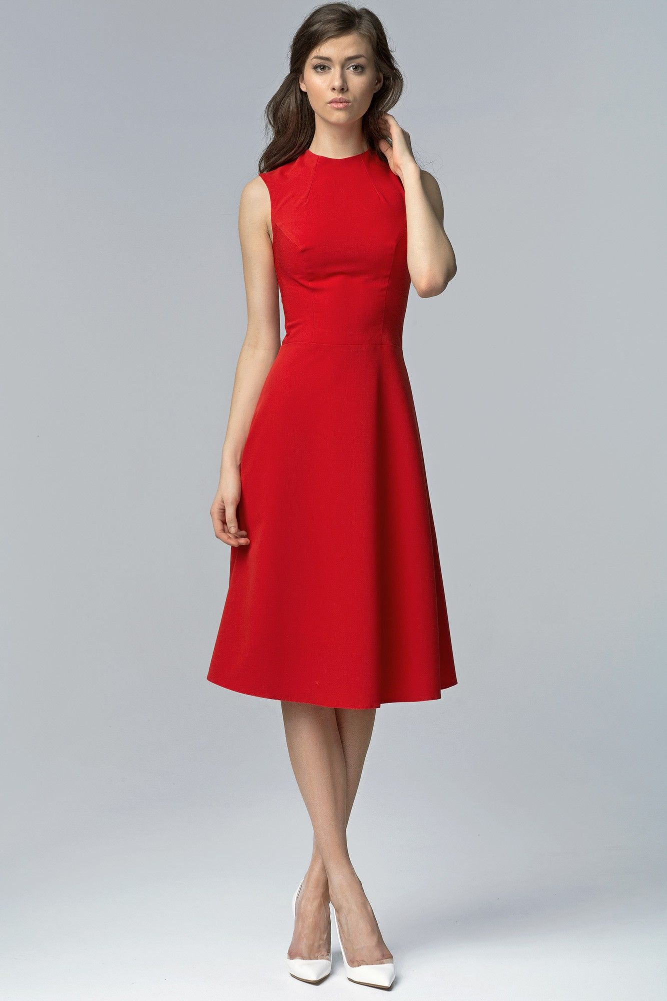 Romina Kleid Midi Ärmellos Rot | vestidos de calle | Pinterest | Rot ...