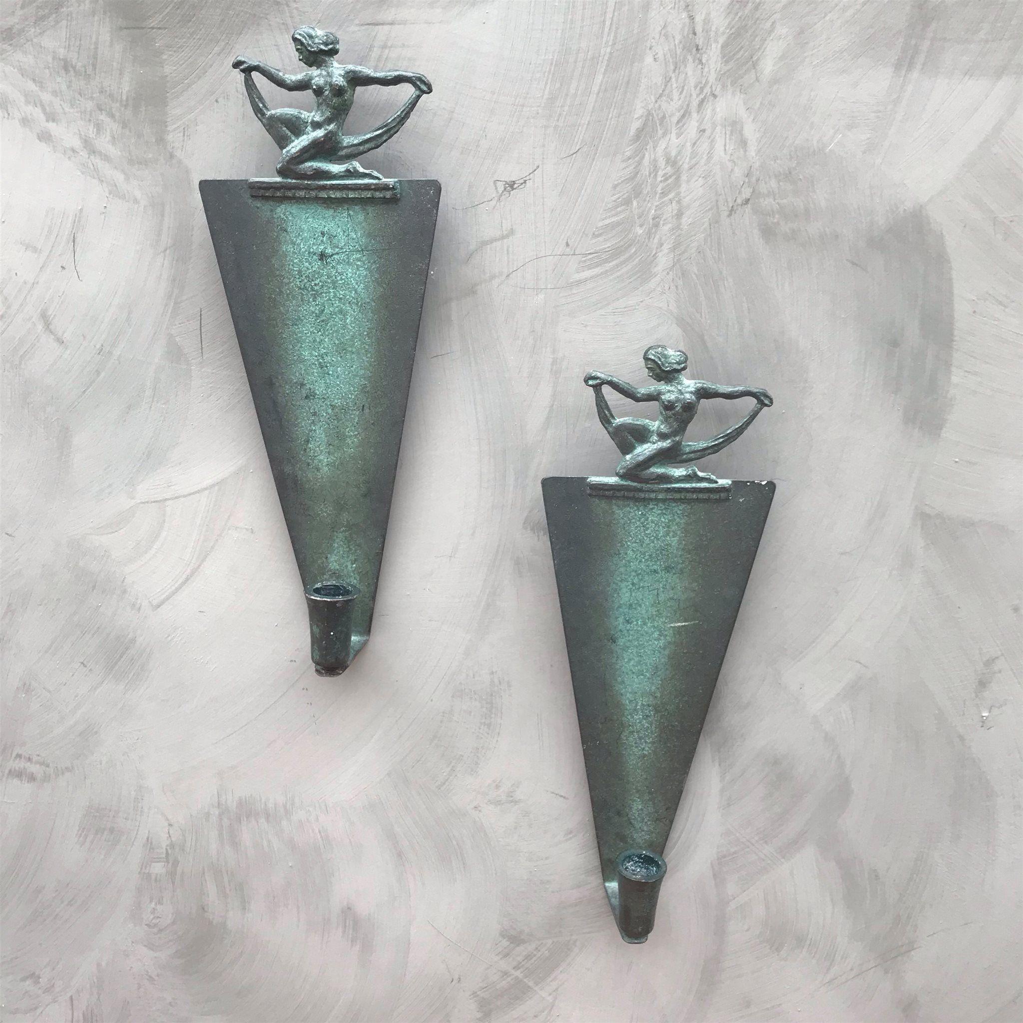 Köp online Väggljusstakar Art Deco i brons 20tal (323443078