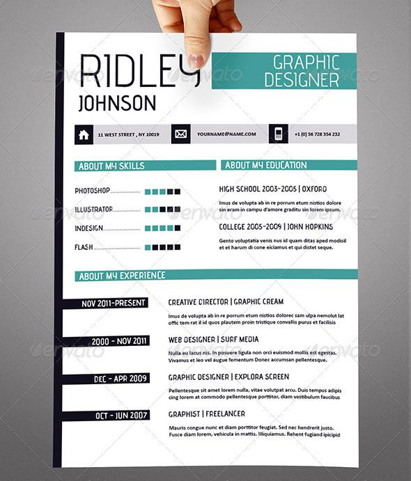 Creative-Indesign-Resume-Templatejpg (590×691) Resume ideas - graphic design resume template