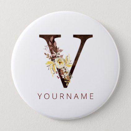 Floral Monogram V Rich Autumn Foliage Button | Zazzle.com #autumnfoliage