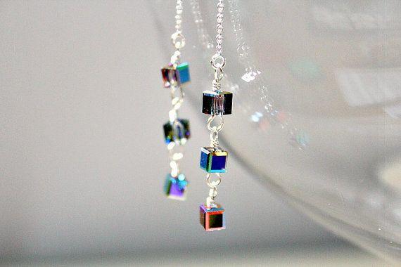 Crystal Vitrial Swarovski Crystal Cube Sterling Silver Threader Earrings on Etsy, $24.00