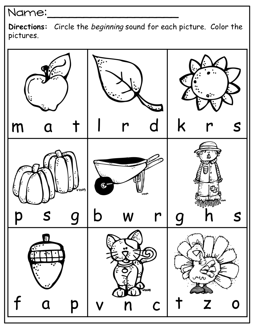 Worksheet Kindergarten Beginning Sounds httpwww teacherspayteachers comproductfall math and literacy fall packet kindergarten