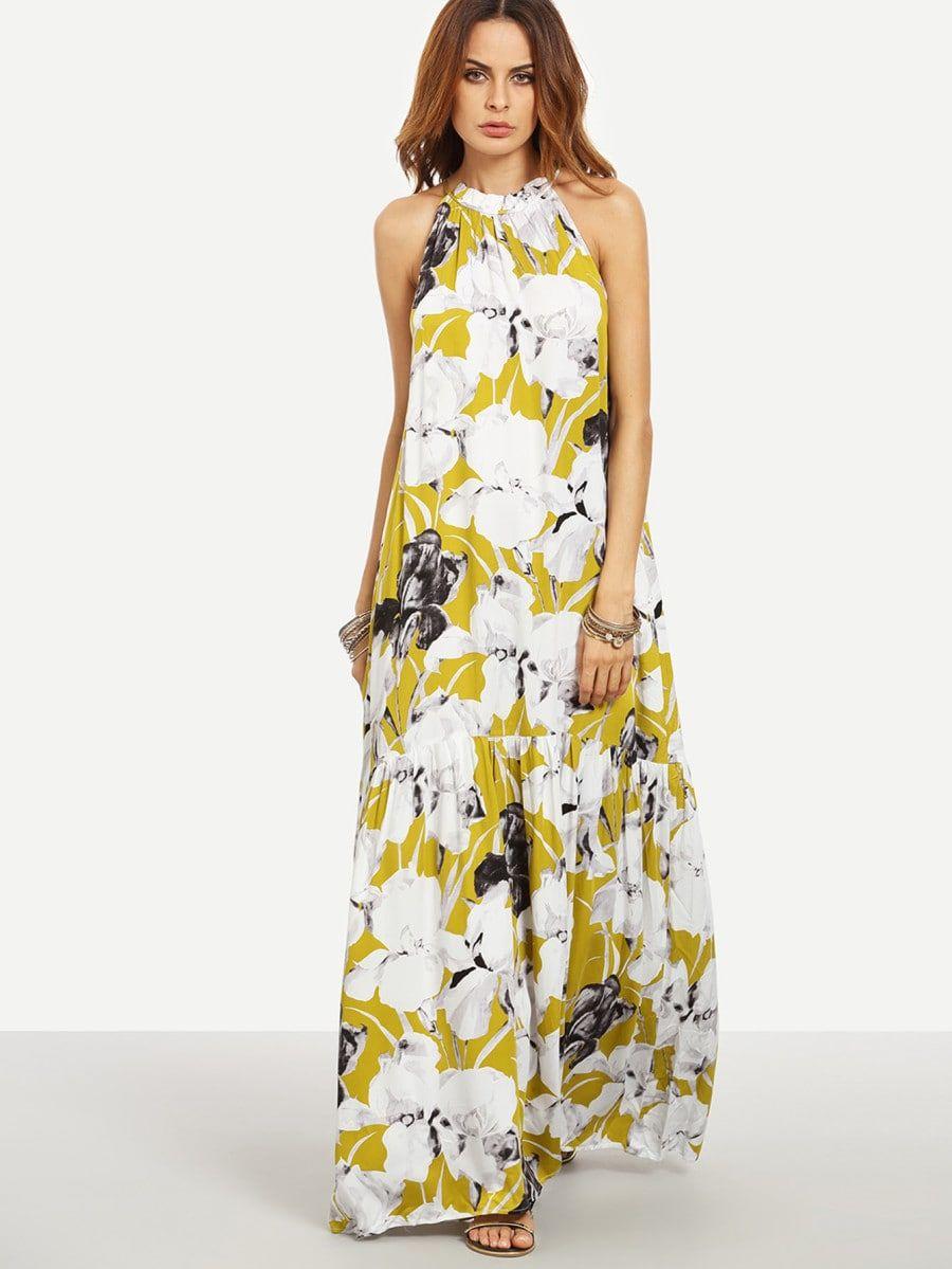 Flower Print Halter Neck Full Length Beach Dress Shein Sheinside Robe Maxi Robe De Plage Longue Robe Longue [ 1199 x 900 Pixel ]