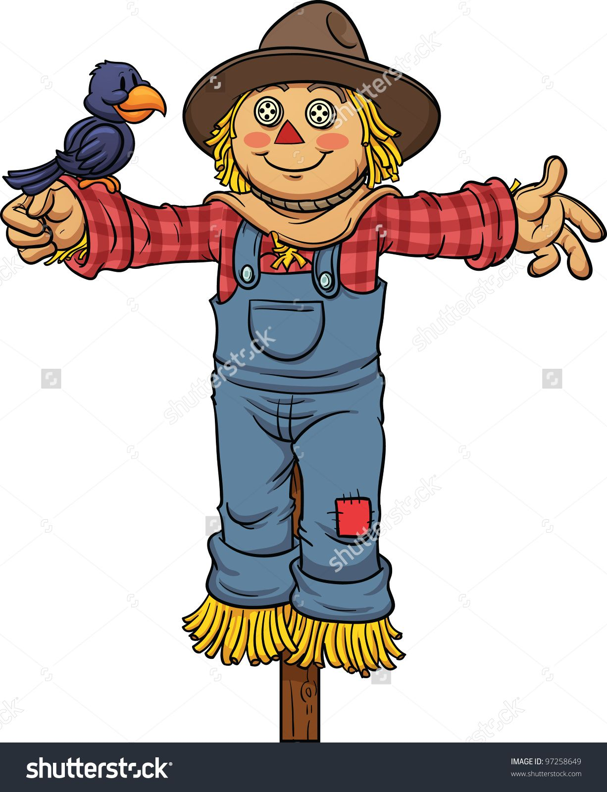 Cartoon Scarecrow. Vector Illustration With Simple Gradients. All In ...