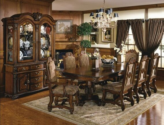7 Pc Neo Renaissance Cherry Brown Finish Wood Formal Dining Table Prepossessing Formal Dining Room Table And Chairs 2018
