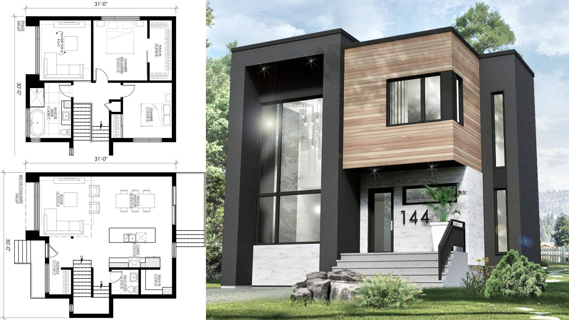 This Small Modern House 30x31 Has 3 Bedrooms With Its Two Storey Living Room The Plan Will Small Modern Home Small Modern House Plans House Designs Exterior
