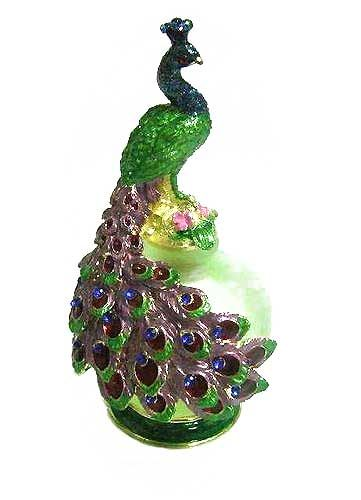 Jeweled and enameled Peacock Green Perfume Bottle
