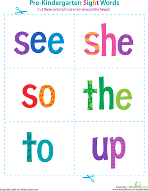 Pre-Kindergarten Sight Words: See to Up | Preschool, Reading and Words