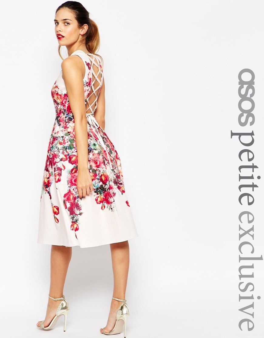 Image 1 of ASOS PETITE Vintage Floral Bardot Midi Prom Dress With ...