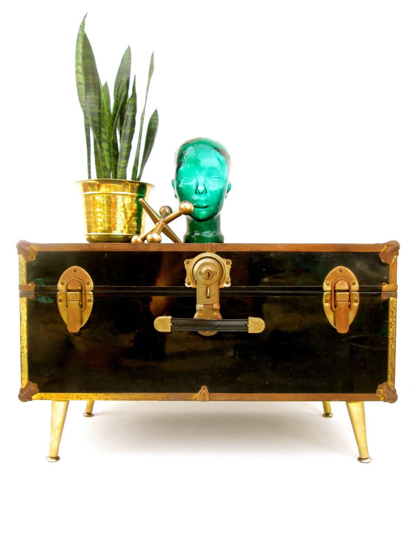 vintage industrial metal steamer trunk coffee table record rh pinterest com