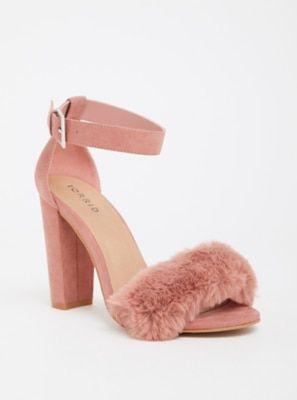 73f0c0e76bc Wide Width Mauve Faux Fur High Heel Sandal - Wide Width