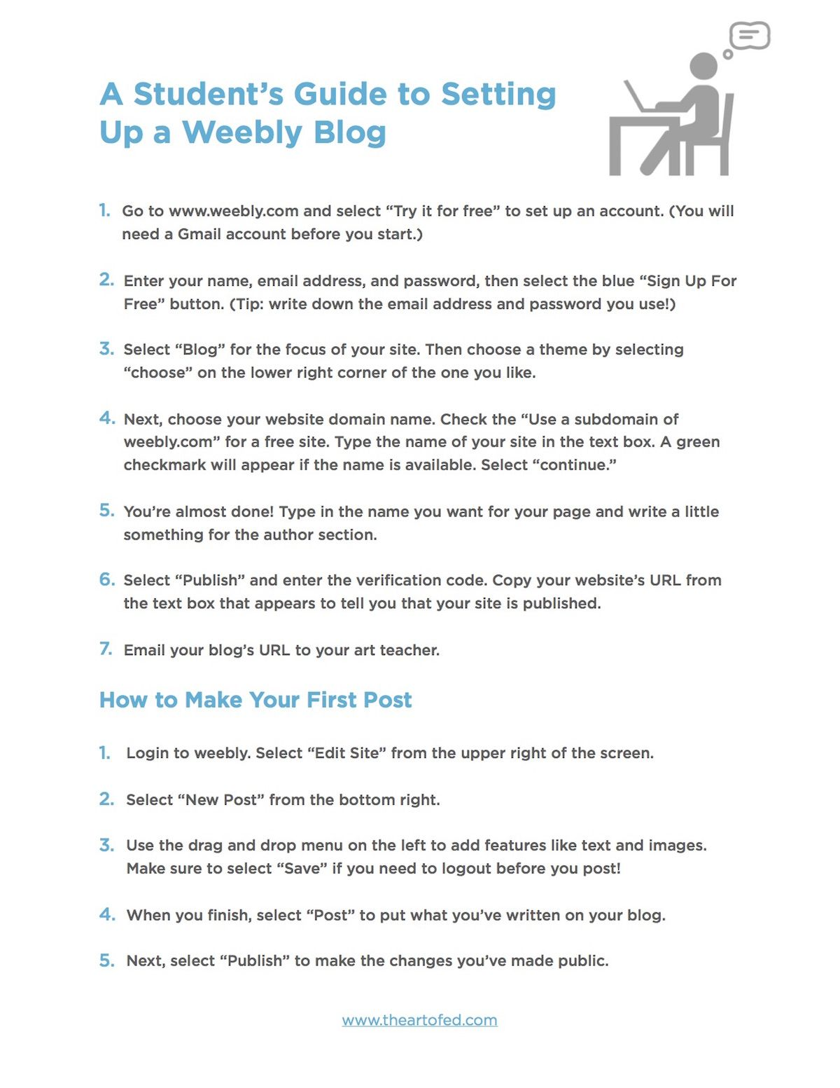 Get Your Students Blogging In 3 Easy Steps The Art Of Education University Student Guide Student Student Writing