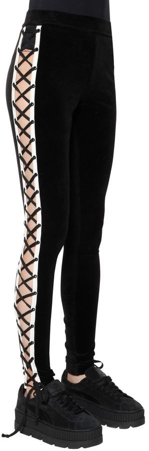 096e953edba25d FENTY PUMA by Rihanna Velour Lace Up Leggings