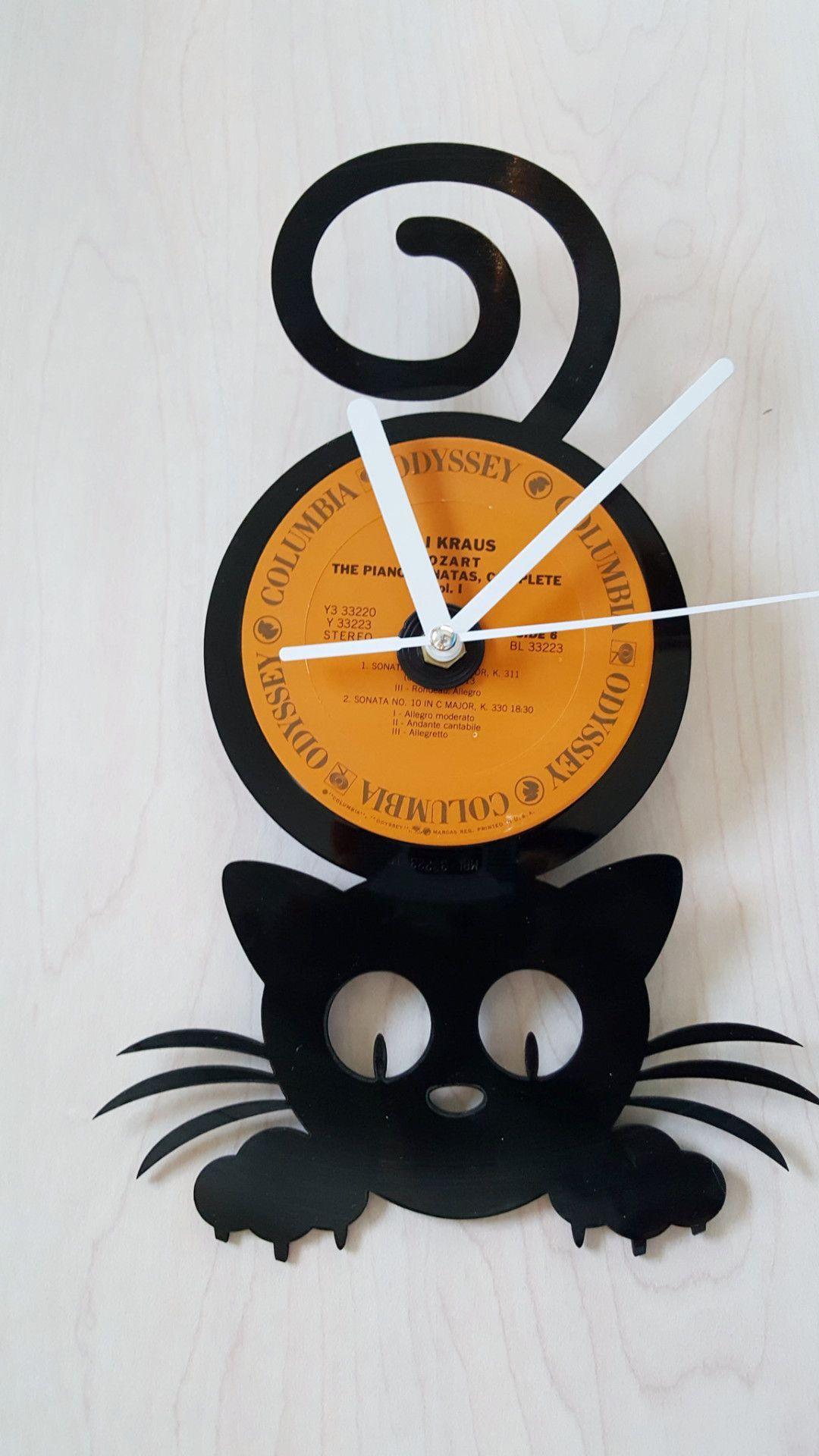 Happy Kitty Vinyl Record Clock Custom