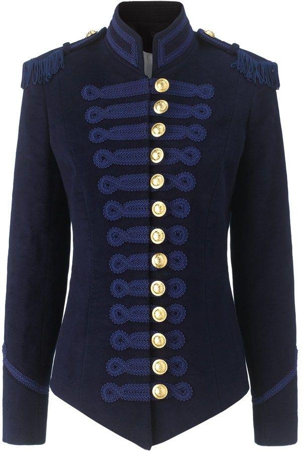 Pinky Laing Navy Velvet Military Jacket  59679d9fb