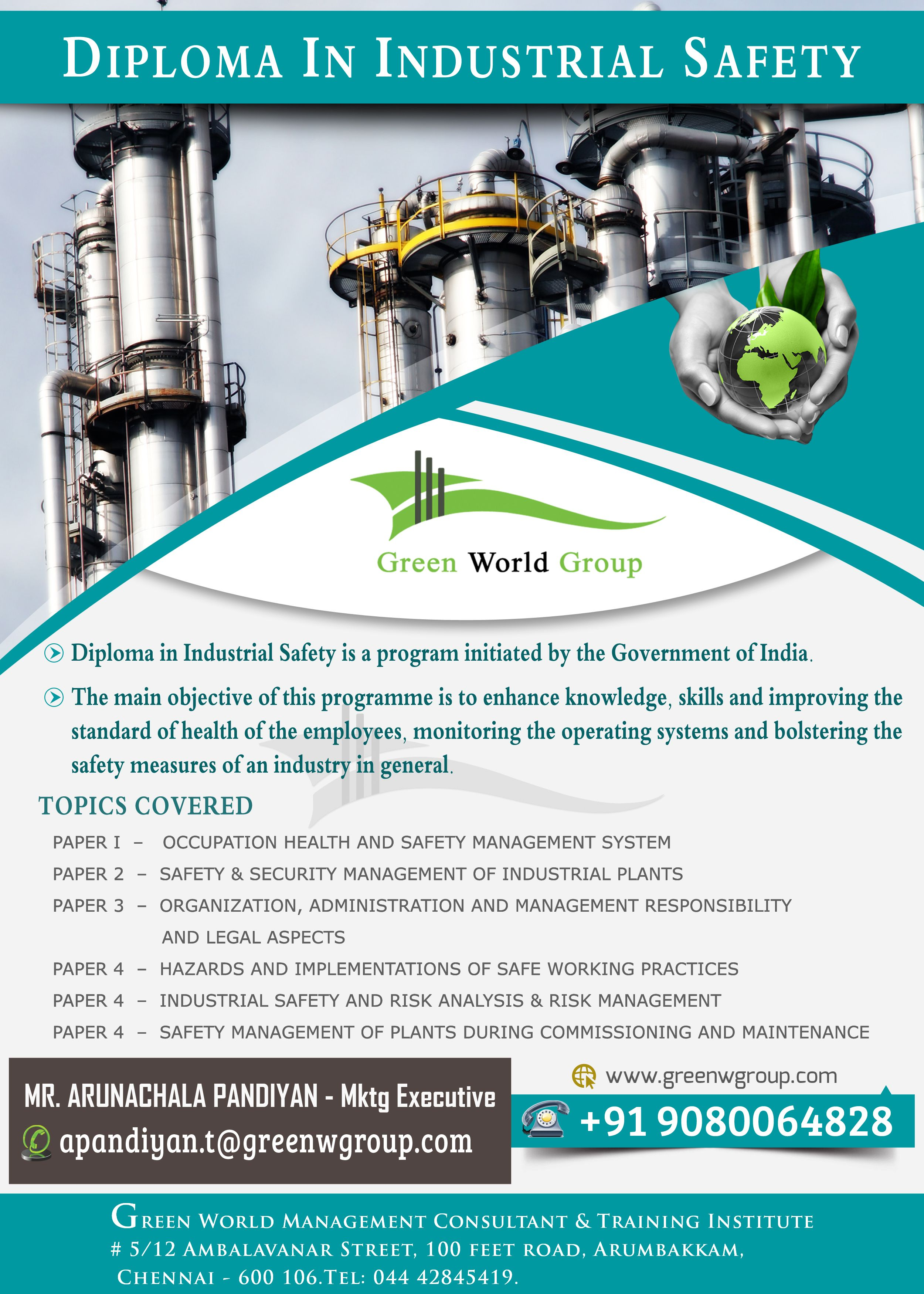 Green World Group offers for Diploma in Industrial safety