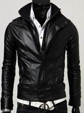 1e35c0ee1c7a1 Men's leather jacket, Men Stand Collar Long Sleeve Double Zipper Slim  leather jacket, motorcycle leather jacket
