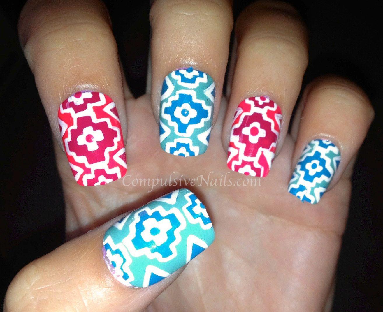 Navajo Inspired Tribal Fake Nails by CompulsiveNails on Etsy, $32.00 ...