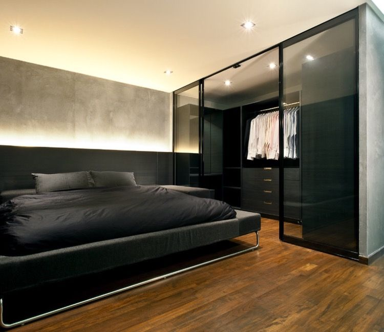 modern bedroom designs%0A Industrial Bedroom Using Dark Bed Design with Screen Glass Covered the  Walking Closet Ideas at Mens Bedroom Ideas