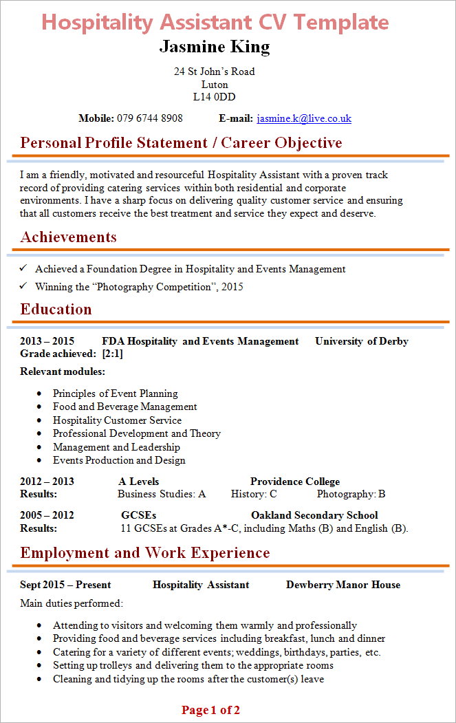 Cv Template Hospitality Resume Format Cv Template Education Resume Resume Design Template