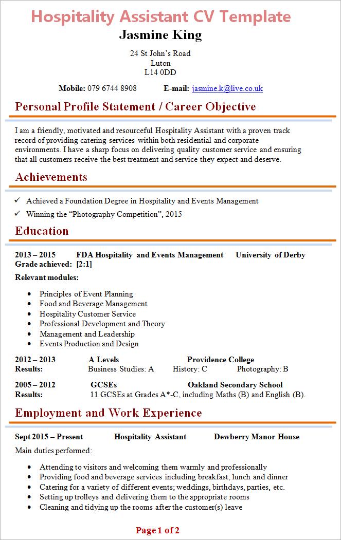 Cv Template Hospitality Resume Format Cv Template Resume Format Download Resume Design Template