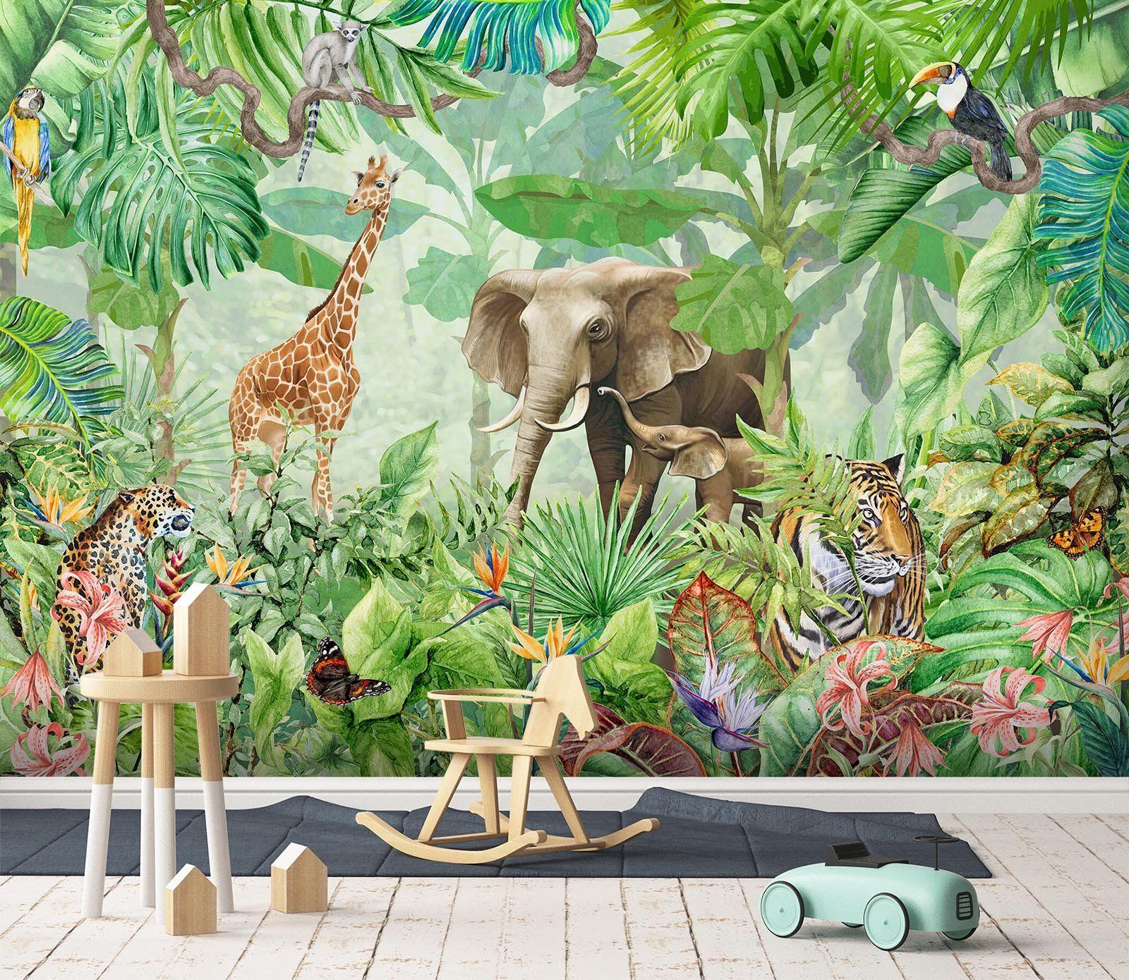 Customize Wall Mural Mural Animal Wallpaper Retro Wallpaper
