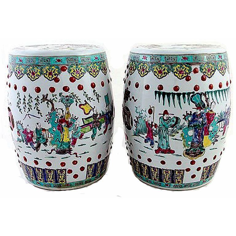 Antique Chinese Ceramic Garden Stools, Porcelain Garden Stools Chinese