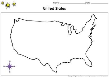 United States Map No Hawaii or Alaska Blank Full Page King