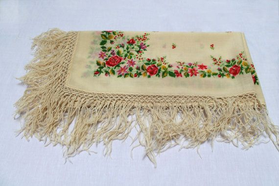Vintage Russian Floral Shawl 80s ivory floral folk by AvoskaUA, $11.00