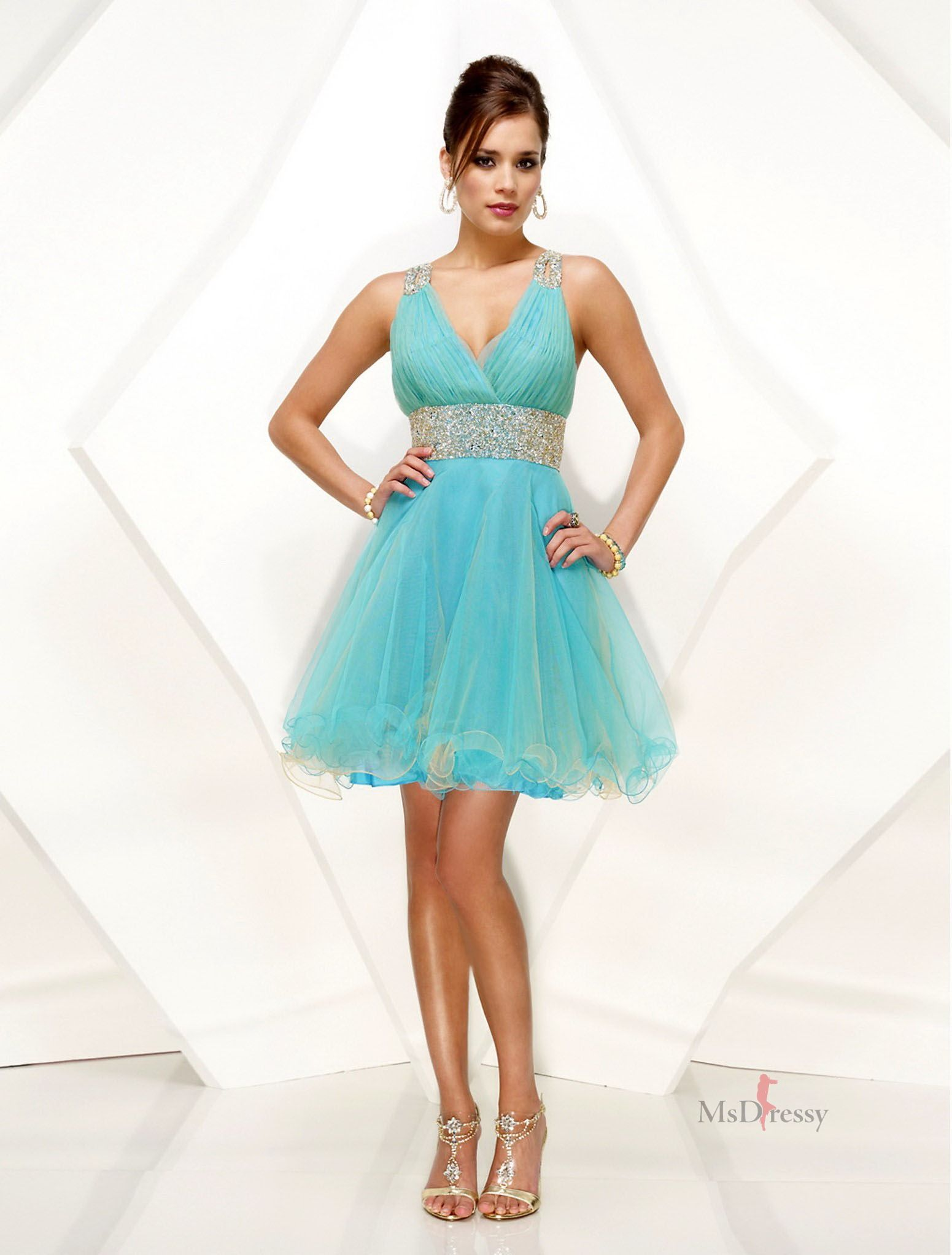V-neck Tulle Dress With Beading | Very Cute Dresses | Pinterest ...