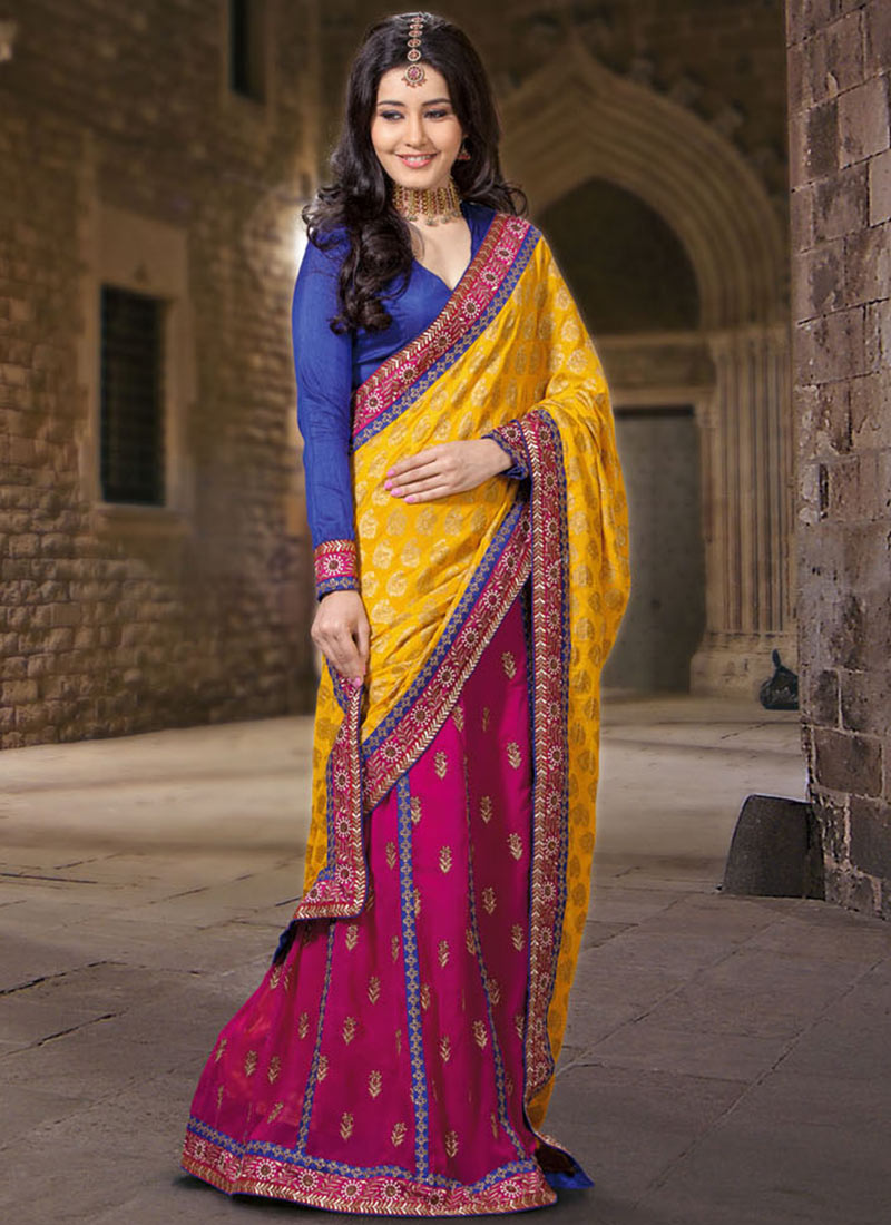 Looking So Beautiful Yellow & Pink Color Designer Party Wear