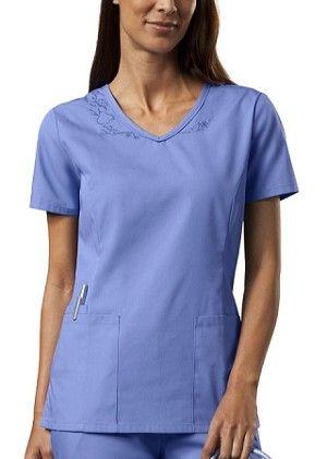 Workwear Women's Embroidered V-Neck Scrub Top #womens #fashion #nursing # scrubs