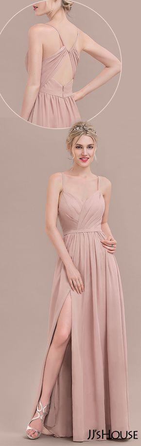 JJsHouse A-Line/Princess Sweetheart Floor-Length Chiffon Bridesmaid Dress With Ruffle Split Front