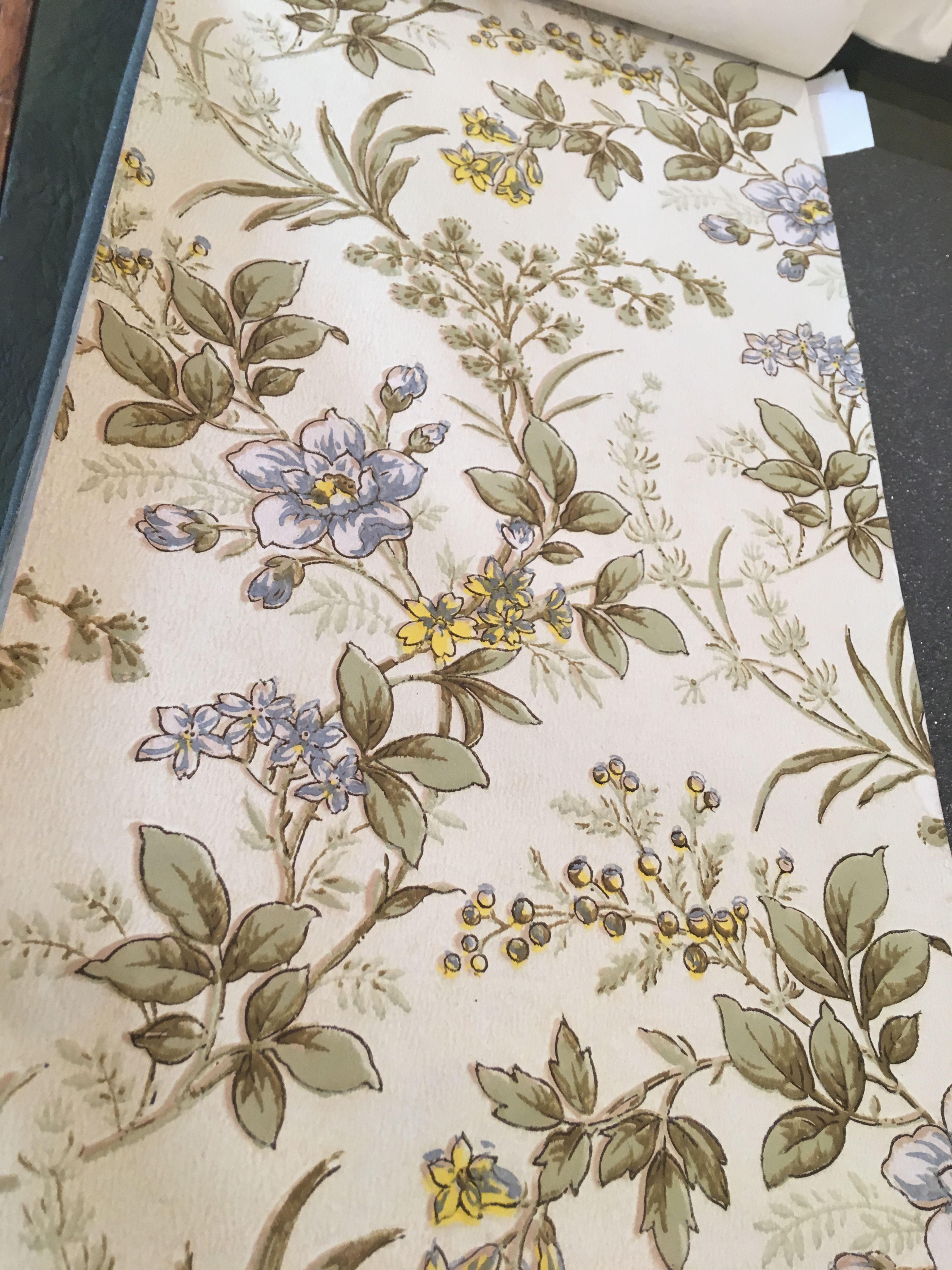 1892 Victorian machine printed floral wallpaper by Darwen