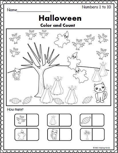 Halloween Counting Worksheet (1 to 10 | Kindergarten learning ...