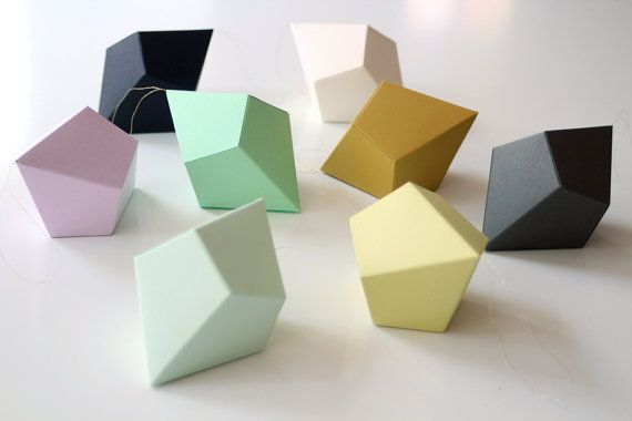 DIY Geometric Paper Ornaments - Set of 8 Paper Polyhedra Templates - Classic Palette
